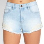 Forever21 Crochet Denim Cutoffs